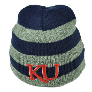 NCAA Kansas Jayhawks Cuffless Knit Beanie Thick Stripes Navy Gray KU Skully