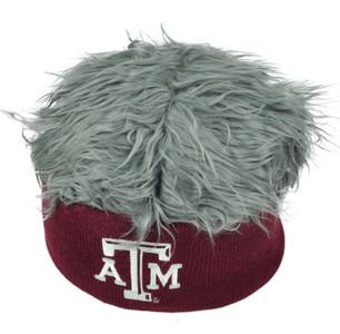 NCAA Texas A&M Aggies Sizzle Faux Fur Flair Hair Knit Beanie Gray Burgundy