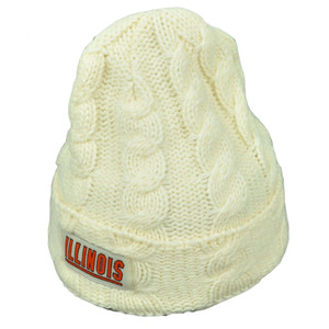 NCAA Illinois Fighting Illini Kiera Women Cuffed Crochet Beanie Knit Cream Hat