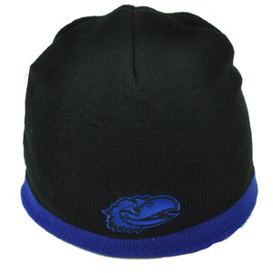 NCAA Kansas Jayhawks Black Blue Knit Beanie Cuffless 2 Tone KU Winter Skully