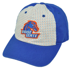 NCAA Boise State Broncos Polka Dots Blue White Relaxed Hat Cap Sun Buckle Ladies