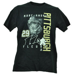 Pittsburgh Penguins Marc Andre Fleury 29 Player Signature Tshirt Tee Hockey Mens
