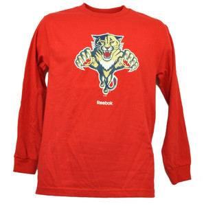 Florida Panthers Long Sleeve Red Tshirt Hockey Reebok Mens Crew Neck Sport