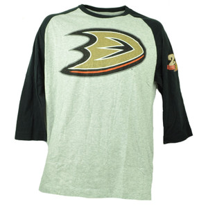 Anaheim Ducks Wright Ditson Hockey Mid Sleeve Tshirt Tee Mens Gray Crew Neck