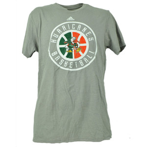NCAA Miami Hurricanes Basketball Gray Tshirt Tee Mens Adult Short Sleeve UM