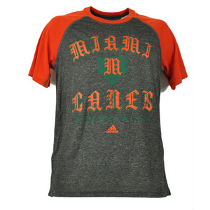 NCAA Miami Hurricanes 2 Tone Baseball Tshirt Tee Mens Short Sleeve Charcoal