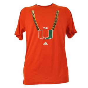 NCAA Miami Hurricanes Canes Gold Chain Tshirt Tee Mens Orange Short Sleeve