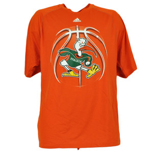 NCAA Miami Hurricanes Basketball Orange Mens Tshirt Tee Short Sleeve Canes