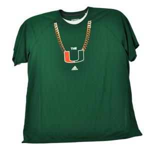 NCAA Miami Hurricanes Canes Gold Chain Mens Tshirt Tee Short Sleeve UM Crew Neck