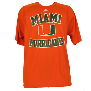 NCAA Miami Hurricanes Climalite Mens Tshirt Tee Dry Fit Orange Short Sleeve