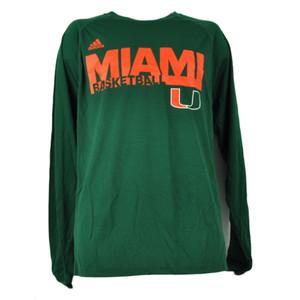 NCAA Miami Hurricanes Basketball Long Sleeve Tshirt Tee Climalite Green Mens