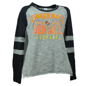 NFL Cincinnati Bengals Striped Black Orange Long Sleeve Womens Tshirt Striped