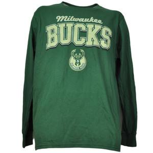 NBA Milwaukee Bucks Long Sleeve Green Tshirt Crew Neck Mens Dribble Adult