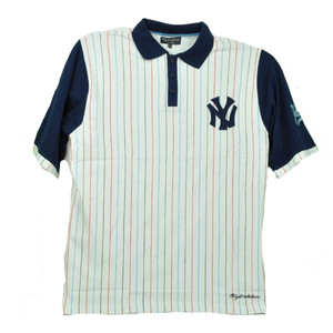 Wright Ditson New York Yankees Contrasting Striped Polo Shirt White Navy Mens