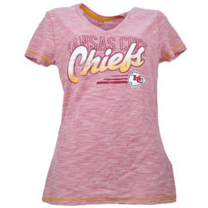NFL Kansas City Chiefs Distressed Logo Striped Womens Tshirt Tee Red V Neck