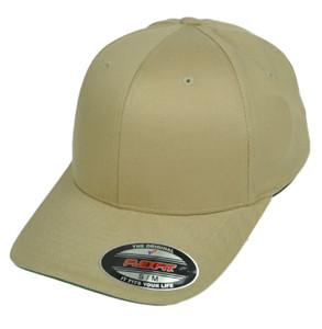 Khaki Blank Plain Solid Color Hat Cap Flex Fit Small Medium Curved Bill Stretch