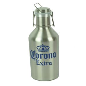 Corona Extra Crown Logo Stainless Steel Growler 64oz Beer Jug Metallic Silver