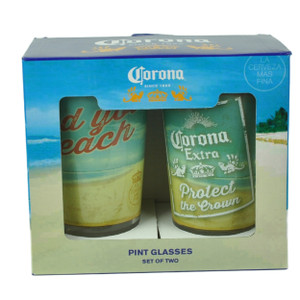 Corona Extra Find Your Beach Pint Glasses Set of 2 16oz Beer La Cerveza Mas Fina