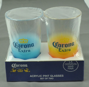 Ombre Corona Extra Acrylic Pint Glasses Set of Two 16oz Cup Cerveza Beer Pub