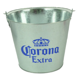 Corona Extra Crown Logo Galvanized Metal Beer Bucket Cerveza Bottles Cans Silver