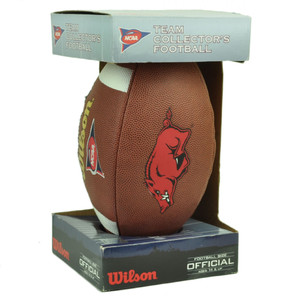 Arkansas Razorbacks Wilson Collectors Football Ball Official Size Brown Display