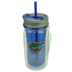 Florida Gators Cup Straw 16oz Cool Gear Insulated Mason Jar Drink Blue Beverage