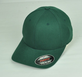 Green Blank Plain Solid Color Hat Cap Flex Fit Small Medium Curved Bill Stretch