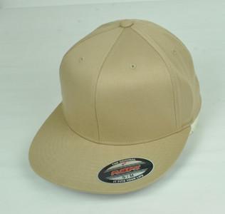 Khaki Blank Plain Solid Color Hat Cap Flex Fit Small Medium Flat Bill Stretch