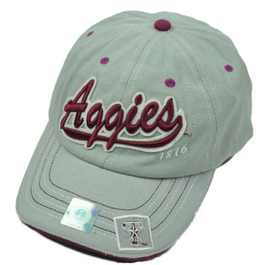NCAA Texas Aggies A&M Patch Adjustable Hat Cap Curved Bill Gray Relaxed 1876