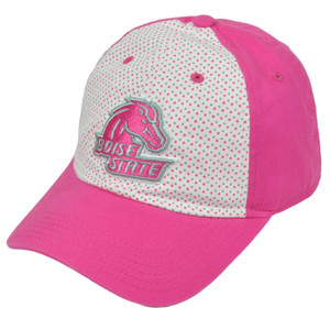 NCAA Boise State Broncos Polka Dots Pink White Relaxed Hat Cap Sun Buckle Ladies