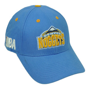 Denver Nuggets Baby Blue Basketball Hat Cap Curved Bill Adjustable NBA Yellow