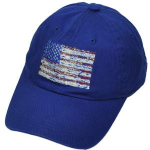 United States Distressed Flag Royal Blue Relaxed American USA Patriotic Hat Cap