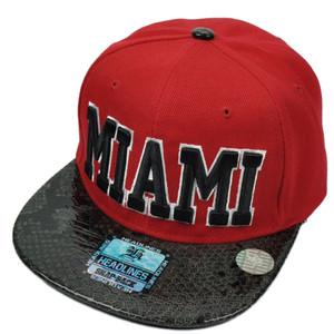 Miami MIA 305 CIty Town FL Faux Black Snake Skin Snapback Flat Bill Hat Cap Red