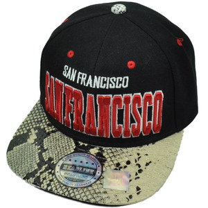 San Francisco City Town Faux Snake Skin Snapback Flat Bill Hat Cap Black Red