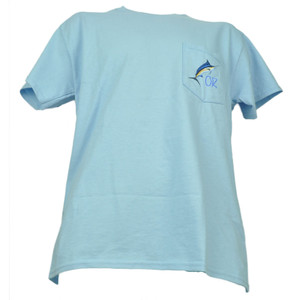 Oregon OR State Pocket Baby Blue Angler Cove Fishing Swordfish Tshirt Tee Mens