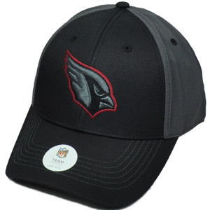 NFL Arizona Cardinals Black Red Logo Outline Hat Cap Adjustable Curved Bill
