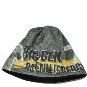 NFL Pittsburgh Steelers Big Ben Roethlisberger 7 Sublimated Knit Beanie Cuffless