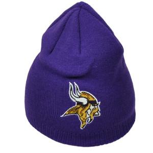 NFL Minnesota Vikings Women's Sequins Purple Knit Beanie Pom Pom Toque Cuffless
