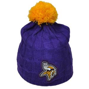 NFL Minnesota Vikings Women's Rhinestone Gems Purple Knit Beanie Pom Pom Crochet