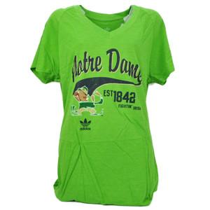 NCAA Adidas Notre Dame Fighting Irish Green 2XLarge Womens Tshirt Tee Distressed