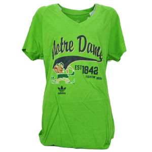 NCAA Adidas Notre Dame Fighting Irish Green 2XLarge Womens Tshirt Tee Distressed