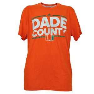NCAA Adidas Miami Hurricanes Dade County Mens Tshirt Tee Short Sleeve Orange XL