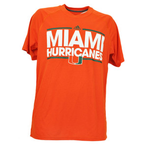 NCAA Adidas Miami Hurricanes Mens Tshirt Tee Orange Medium Mens Canes Crew Neck