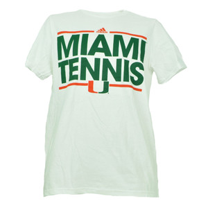 NCAA Adidas Miami Hurricanes Tennis Mens Tshirt Tee Small Short Sleeve White