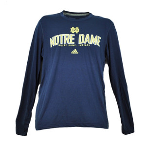 NCAA Adidas Notre Dame Fighting Irish Navy Climalite Long Sleeve Tshirt Medium