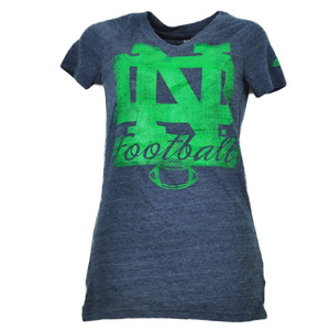 NCAA Adidas Notre Dame Fighting Irish Navy XSmall Distressed Logo Womens Tshirt