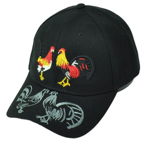 Rooster Fight Cockfight Gallos Hen Black Hat Cap Curved Bill Adjustable Animal