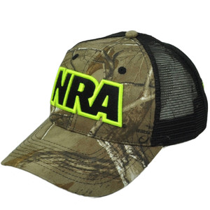 National Riffle Association NRA Realtree Camouflage Snapback Hat Cap Mesh Trucker