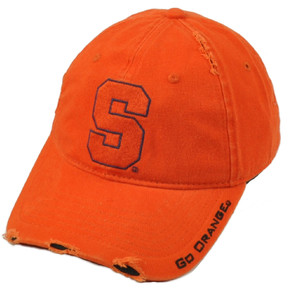 NCAA Syracuse Orange Distressed Ripped Relaxed Hat Cap Curved Bill Sun Buckle