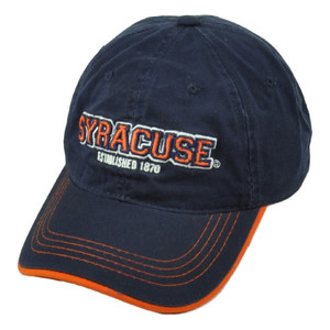 NCAA Syracuse Orange Est 1870 Navy Relaxed Wash Hat Cap Sun Buckle Curved Bill